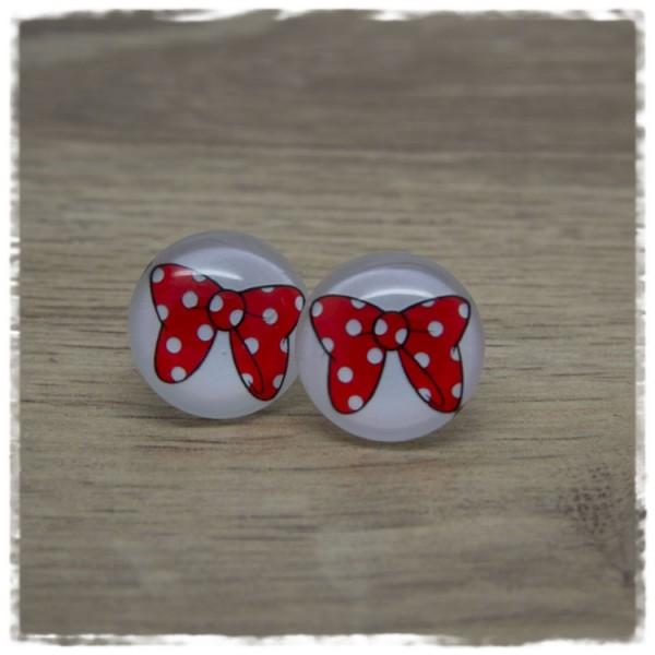 1 Paar Ohrstecker weiß mit roter Schleife