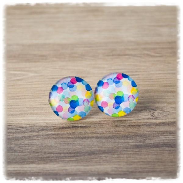 1 Paar Ohrstecker mit bunten Punkten (wahlweise als Ohrclips)