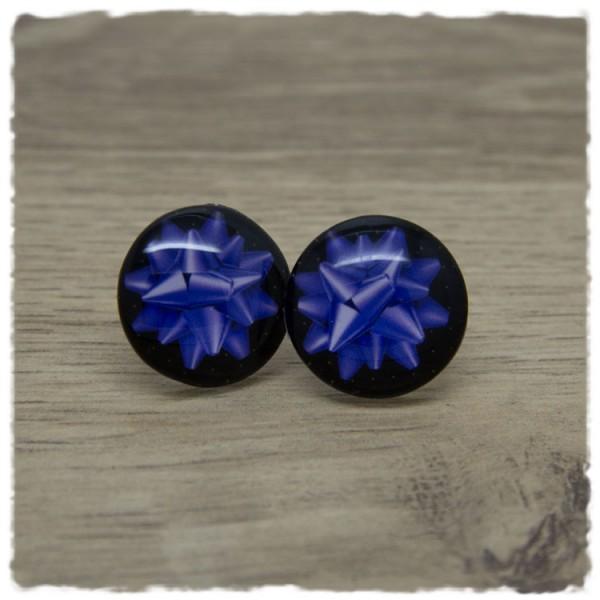 1 Paar Ohrstecker in 20 mm mit lila Geschenkschleife