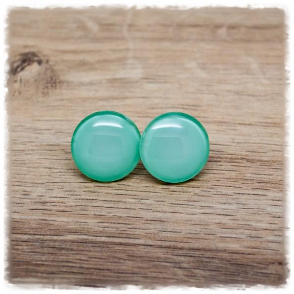 1 Paar Ohrstecker einfarbig mint (wahlweise als Ohrclips)