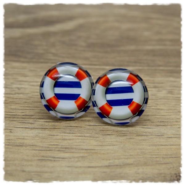 1 Paar Ohrstecker mit Rettungsring auf blauen und weißen Streifen