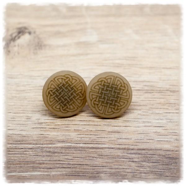 1 Paar Ohrstecker 20 mm flach in taupe matt mit keltischem Muster (wahlweise als Ohrclips)