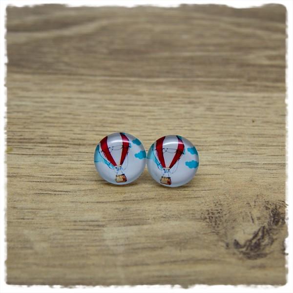 1 Paar Ohrstecker 14 mm mit Heißluftballon