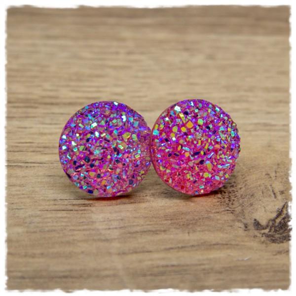 1 Paar Glitzerohrstecker in 20 mm rosa