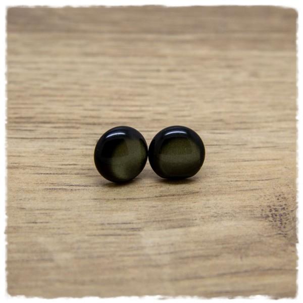 1 Paar Ohrstecker in 12 mm olivgrün