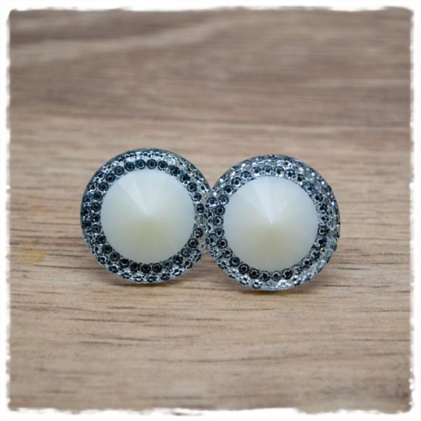 1 Paar Ohrstecker in 20 mm silber weiß