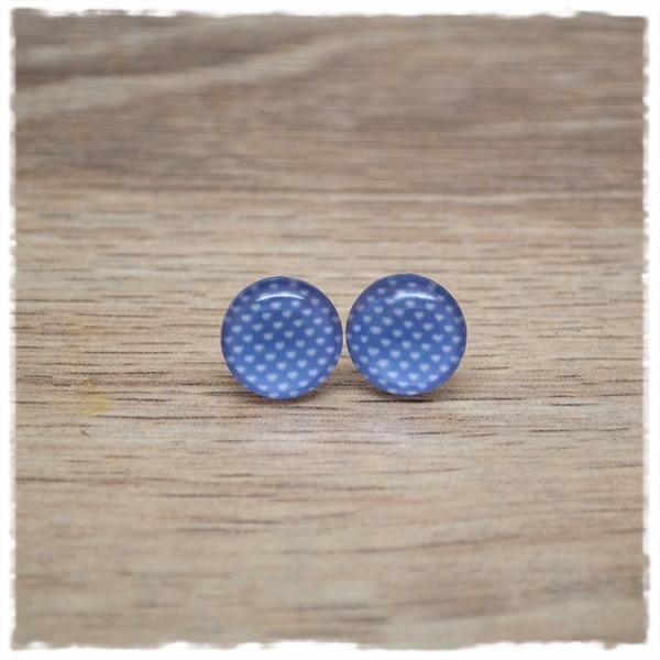 1 Paar Ohrstecker in 12 mm lila mit kleinen Herzen