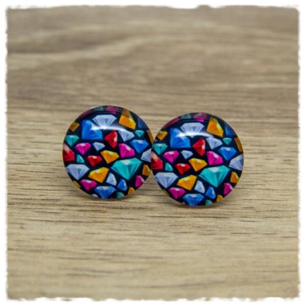 1 Paar Ohrstecker mit bunten Diamanten