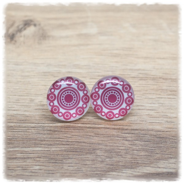 1 Paar Ohrstecker in 20 mm mit rosa Punktemuster (wahlweise als Ohrclips)