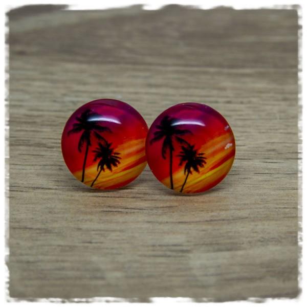 1 Paar Ohrstecker mit Palmen im Sonnenuntergang