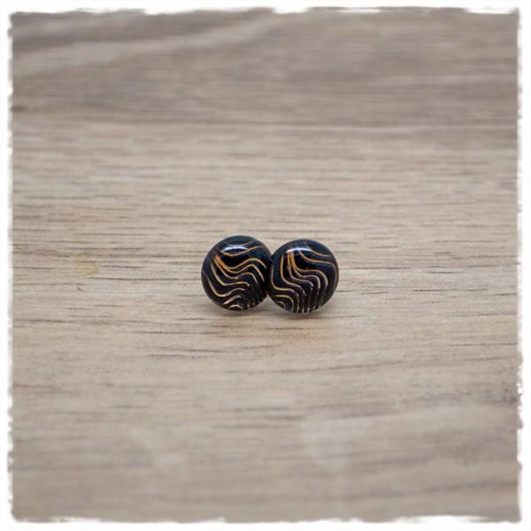 1 Paar Ohrstecker in 10 mm schwarz mit goldenen Wellen