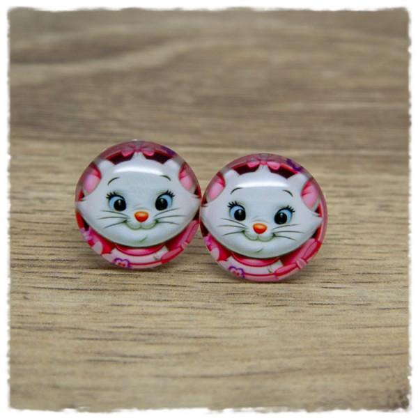 1 Paar Ohrstecker mit weißem Kätzchen