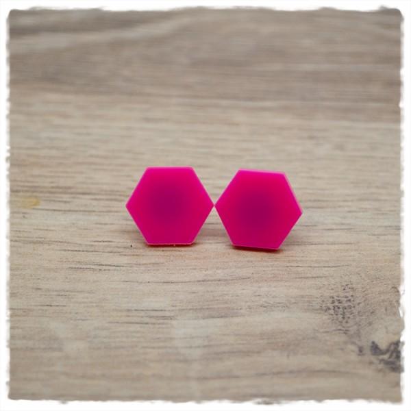 1 Paar flache Ohrstecker sechseckig in 16 mm light pink