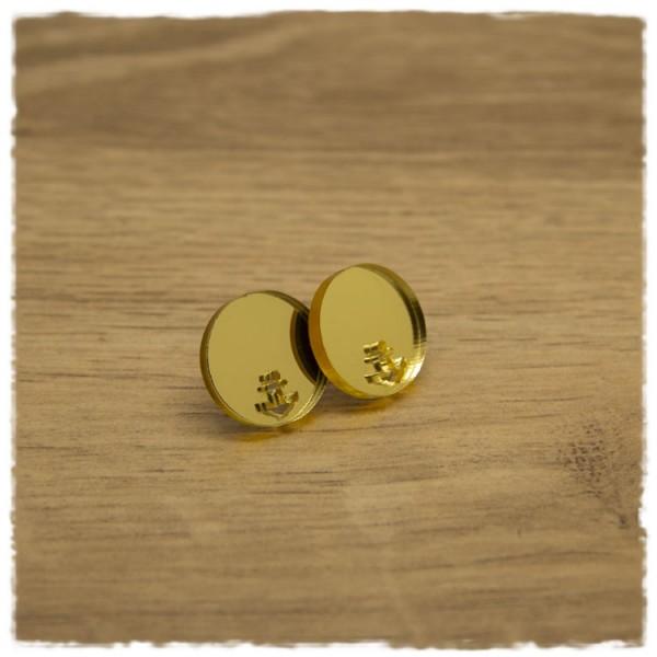 1 Paar flache Ohrstecker in 16 mm gold spiegelnd mit Ankerausschnitt