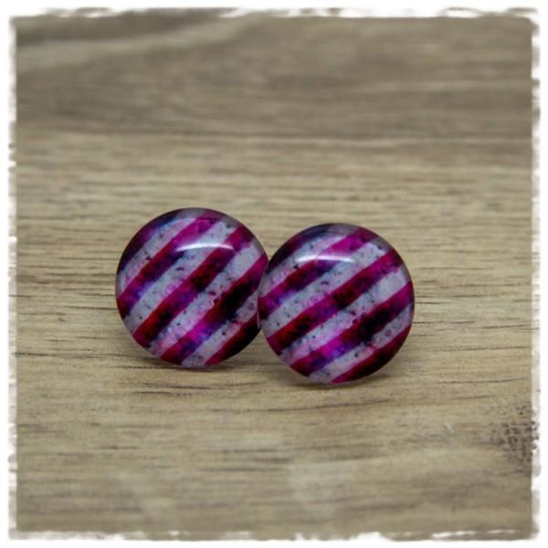 1 Paar Ohrstecker grau pink gestreift