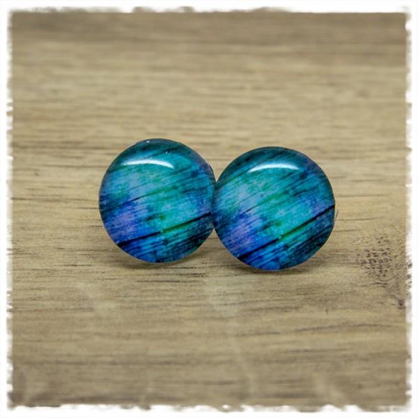 1 Paar Ohrstecker mit Holzdekor in blau lila