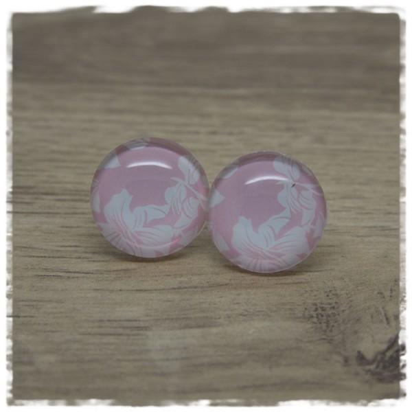 1 Paar Ohrstecker rosa mit weißen Blüten
