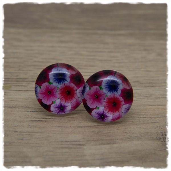 1 Paar Ohrstecker 18 mm mit pinken und lila Blüten