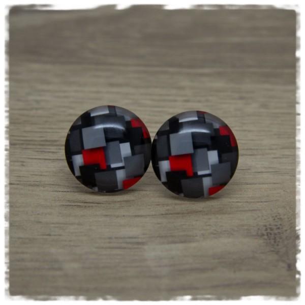 1 Paar Ohrstecker mit schwarzen, grauen und roten Vierecken