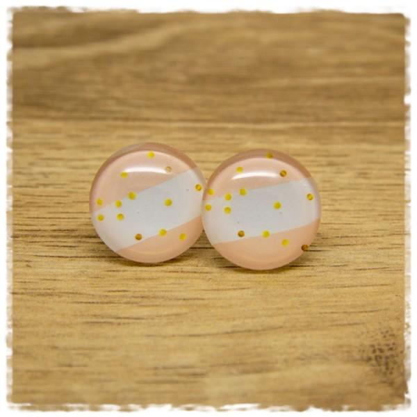 1 Paar Ohrstecker rosa weiß gestreift mit goldenen Punkten