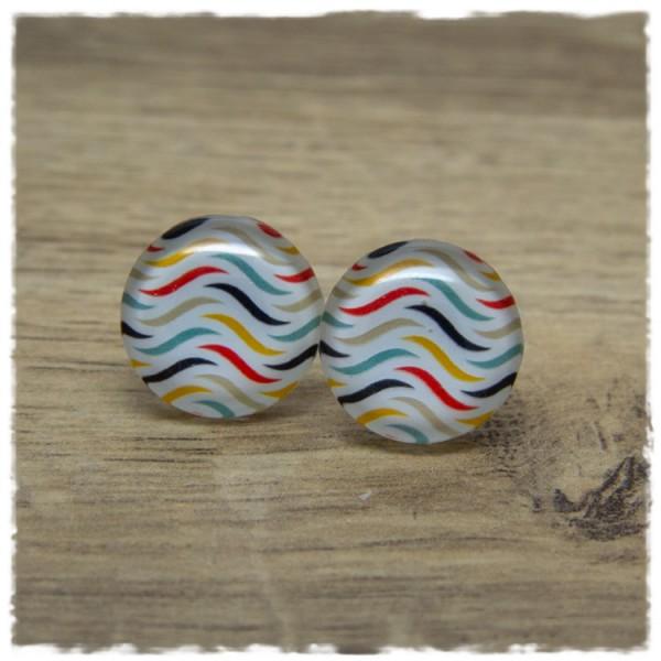1 Paar Ohrstecker weiß mit mehrfarbigen Wellen