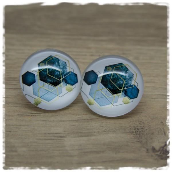 1 Paar Ohrstecker in 25 mm weiß mit Hexagonmuster