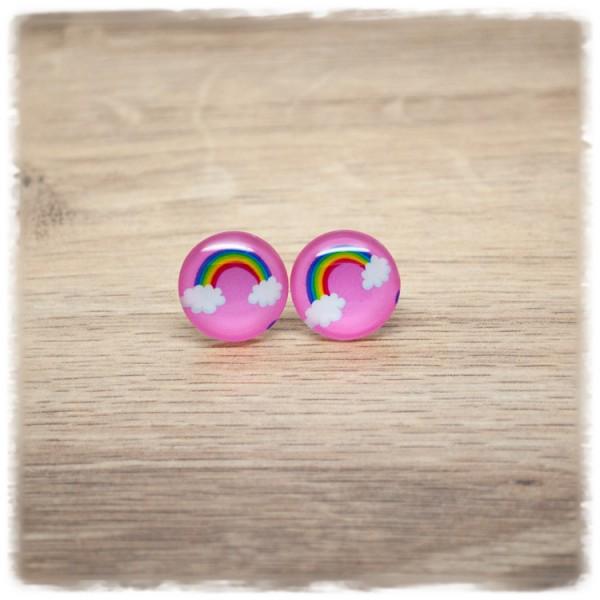 1 Paar Ohrstecker 16mm mit Regenbogen auf rosa Hintergrund (wahlweise als Ohrclips)