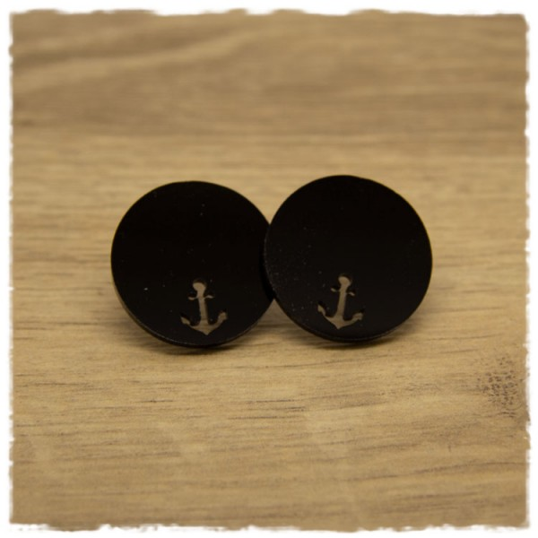 1 Paar flache Ohrstecker 25 mm schwarz mit Ankerausschnitt