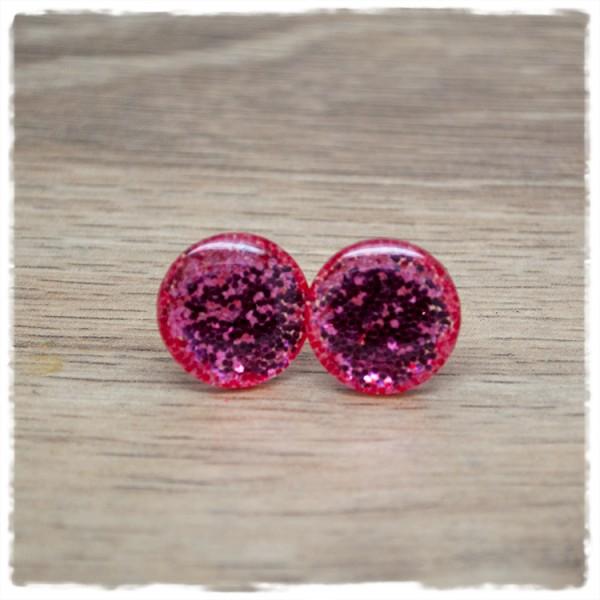1 Paar Glitzerohrstecker in 16 mm rosa