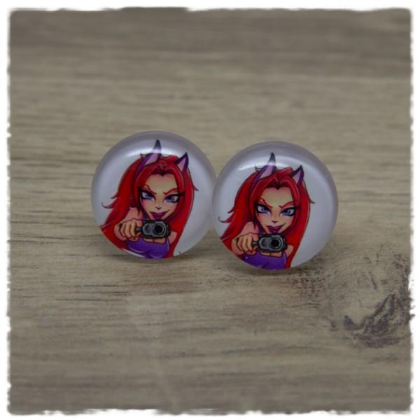 1 Paar Ohrstecker Mädchen mit roten Haaren und Pistole