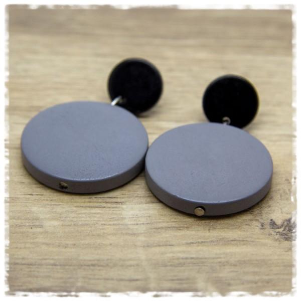 1 Paar Ohrhänger 30 mm in grau und schwarz