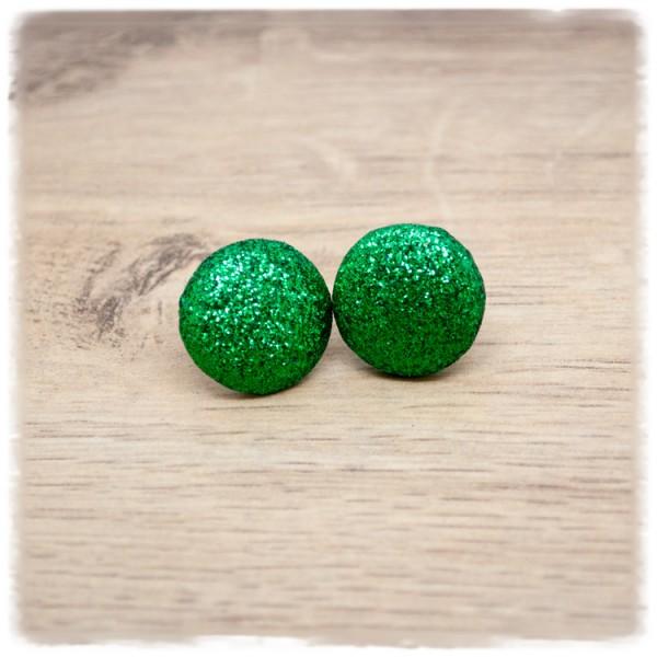 1 Paar Ohrstecker 18 mm grün Glitzer