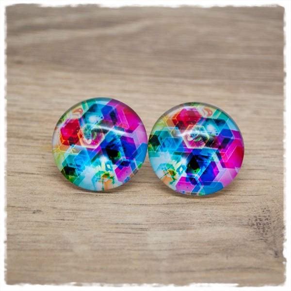 1 Paar Ohrstecker in 25 mm mit bunten Hexagons
