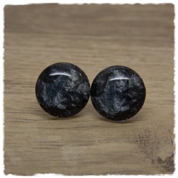1 Paar Ohrstecker dunkelgrau marmoriert