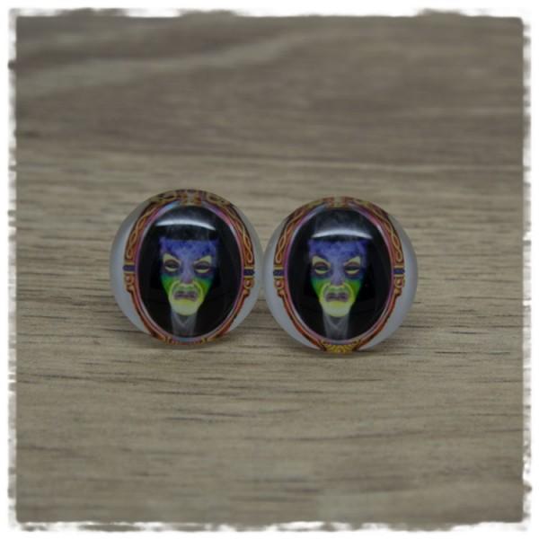 1 Paar Ohrstecker in 20 mm mit Hexe im Spiegel