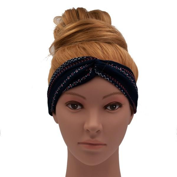 Stirnband dunkelblau gemustert
