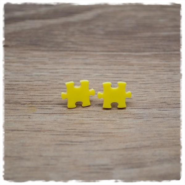 1 Paar Ohrstecker 10 mm Puzzleteil gelb