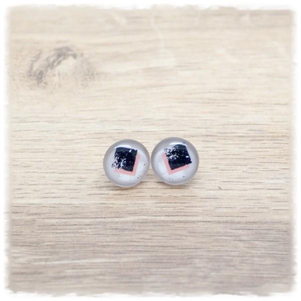 1 Paar Ohrstecker 14 mm mit rosa schwarzem Muster