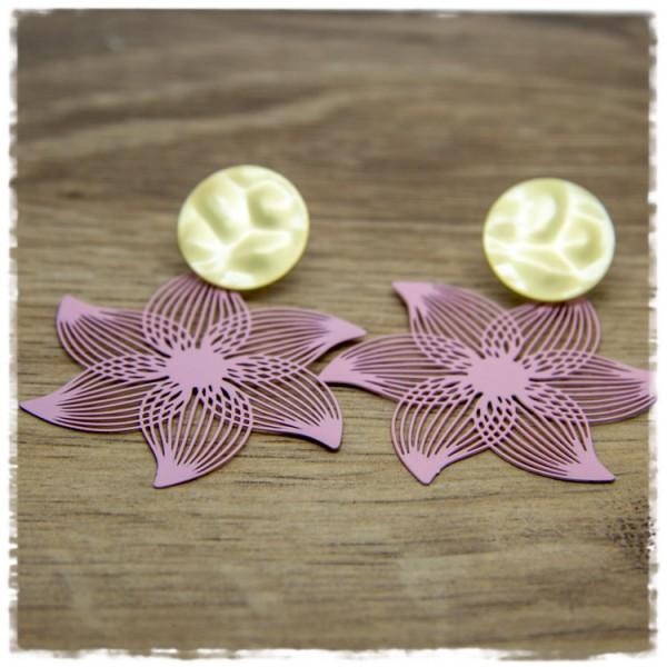 1 Paar Ohrhänger in 45 mm rosa Blüte