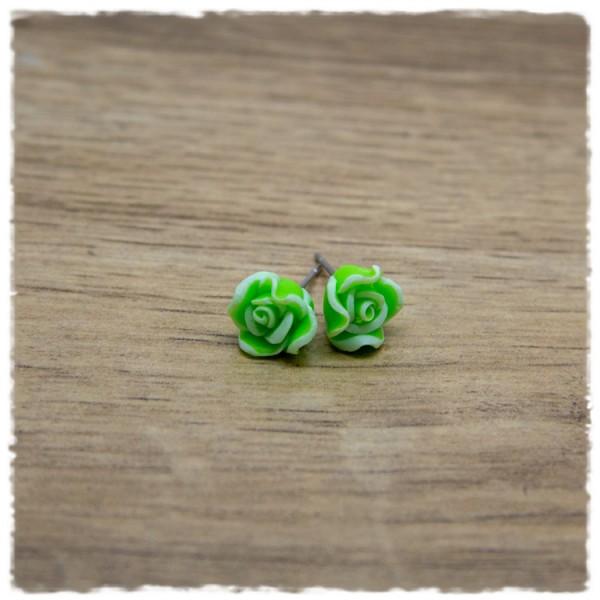 1 Paar Ohrstecker in 10 mm grüne Blüte