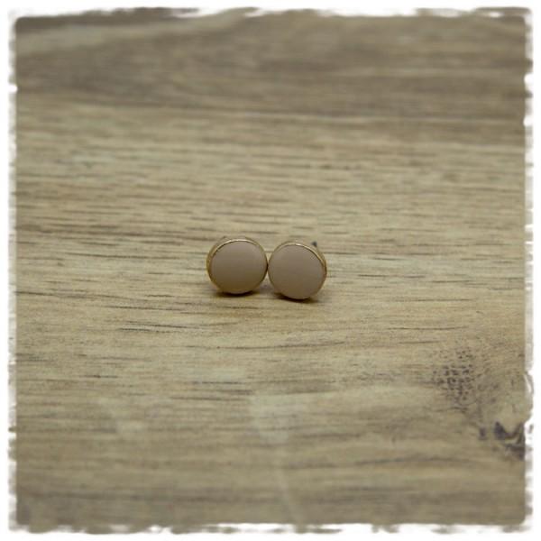 1 Paar Ohrstecker in 10 mm golden rosa flach