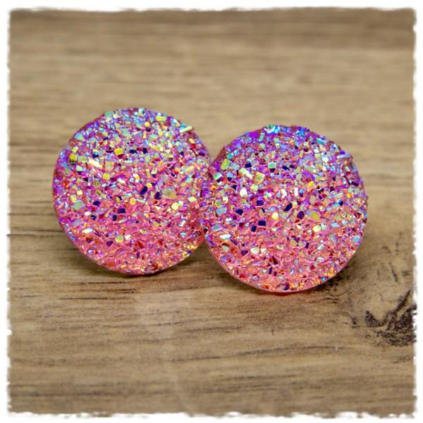 1 Paar Glitzerohrstecker in 25 mm in rosa