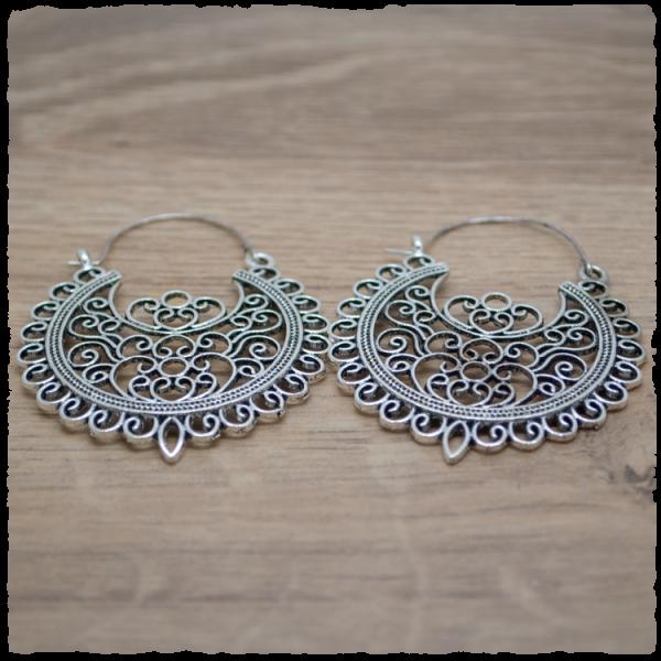 1 Paar Ohrhänger in 45 mm Boho rund silber-antik