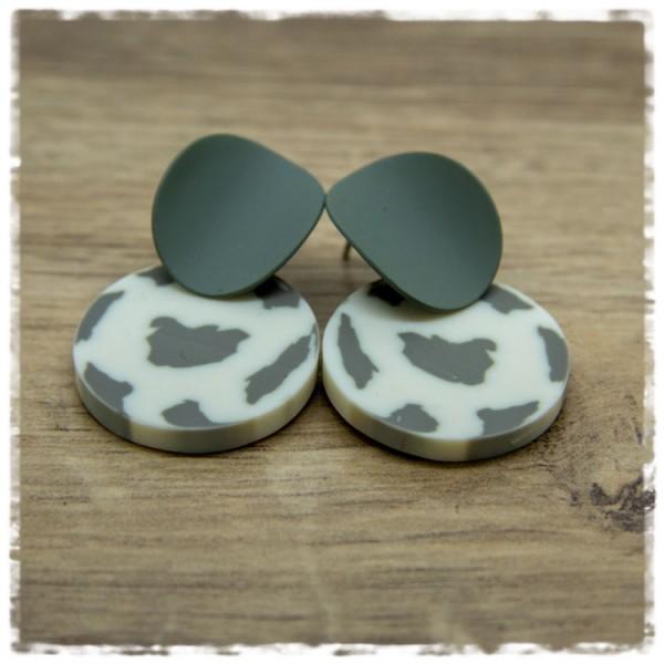 1 Paar Ohrhänger 25 mm in weiß grau gemustert und grau