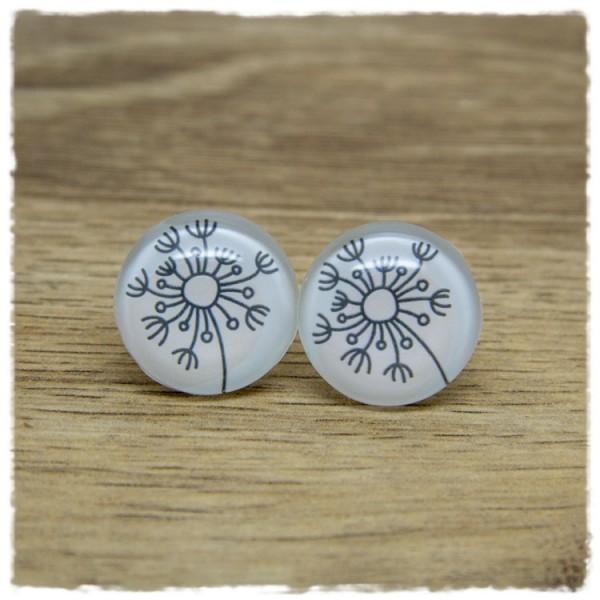 1 Paar Ohrstecker mit gezeichneter Pusteblume