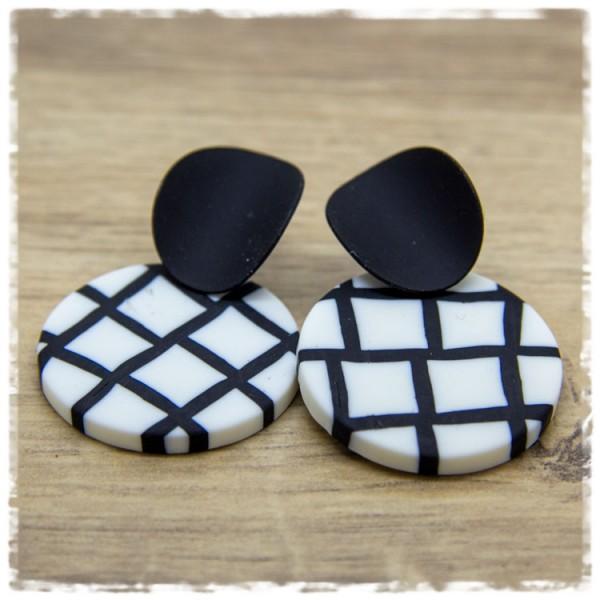 1 Paar Ohrhänger 30 mm in schwarz weiß kariert
