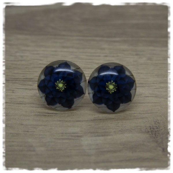 1 Paar Ohrstecker mit dunkelblauer Blüte