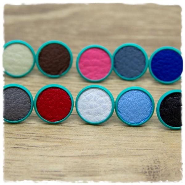 1 Paar Lederohrstecker in mintfarbener 14 mm Fassung