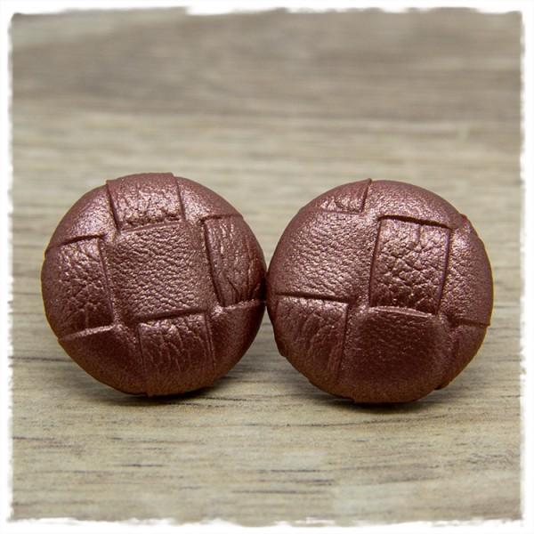 1 Paar Ohrstecker in 25 mm in bronzenem Leder