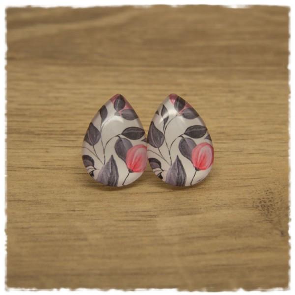 1 Paar große Ohrstecker in Tropfenform weiß mit grauen Blättern und roter Blüte